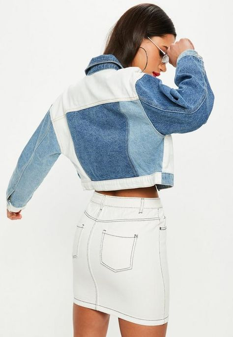 Upcycled Clothing 630292910337497443 - Missguided Blue Denim Contrast Patchwork Cropped Boxy Jacket Source by Denim Jacket Diy, Denim Outfit, Cropped Denim Jacket, 80s Outfit, Denim Bag, Denim Overalls, Ripped Denim, Petite Outfits, Trendy Outfits