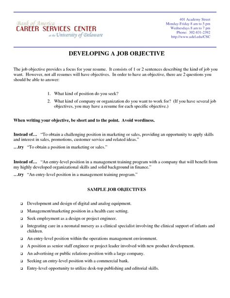 samples marketing resume objective statements resumes design - employment objectives