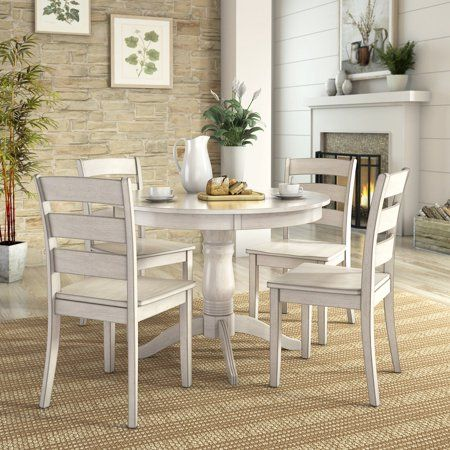 Lexington 5 Piece Wood Dining Round Table And 4 Ladder Back Chairs Antique White Walmart Com Round Dining Table Sets Small Kitchen Tables Farmhouse Kitchen Tables