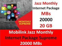 Mobilink Jazz Monthly Internet Package Supreme 20000 Mbs Internet Packages Jazz Internet Internet