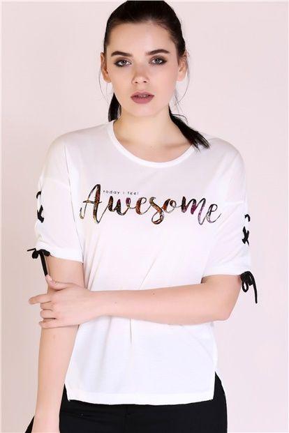 Dolabimizin Mevsimsiz Parcalari Bayan Tshirt Modellerinden Kolu Baglamali Ekru Tshirt Ile Zahmetsiz Siklik Yak Shopping Outfit Clothes For Sale Online Clothing