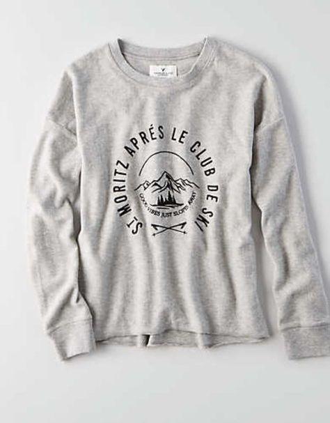 AEO Easy Graphic Fleece Sweatshirt, Light Gray
