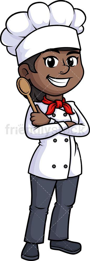 Black Female Chef Holding Platter Cartoon Clipart Vector Friendlystock Cartoon Clip Art Female Chef Cartoon