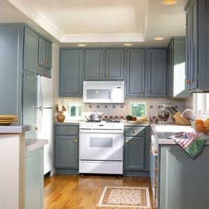 Blue Kitchen Walls With White Cabinets Cabinets In Dusty Blue Have A  Softening Effect In A Kitchen White Furniture U Room Ideas Pinterest Blue  With Kitchen ...