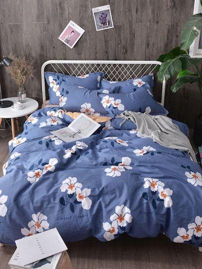 Flower Print Duvet Cover 1pc Shein Bedding Sets Bedroom Decor Bedroom Makeover