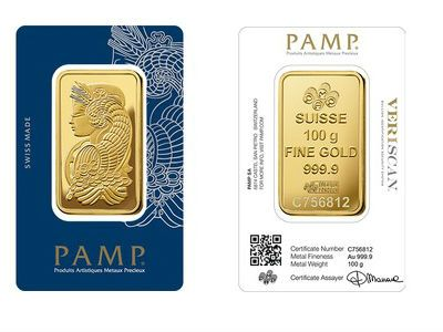 Pamp 100 Gram Minted Gold Bar Gold Bullion Coins Gold Bar Gold Bullion Bars
