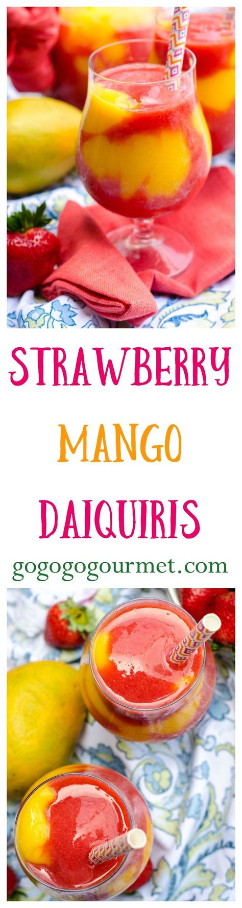 These Strawberry Mango Daiquiris are better than ANY concentrated mix- and just look at all that COLOR!   Go Go Go Gourmet @Go Go Go Gourmet