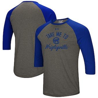 Chicago Cubs Under Armour Heritage Performance Tri Blend Raglan 3 4 Sleeve T Shirt Heathered Gray Royal Under Armour Shirts Sleeve