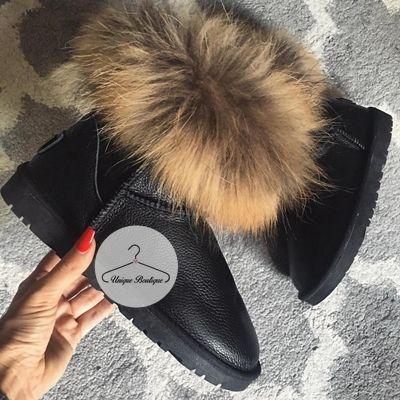 Sniegowce Skora Fashion Fur Slides Fur
