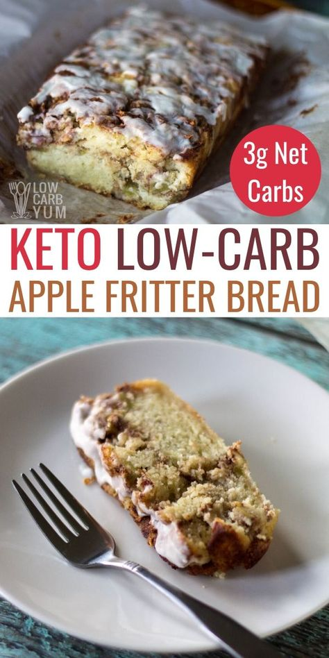 This gluten-free apple fritter bread is low-carb and keto friendly. It's a keto sweet bread with just 3g net carbs per slice. #ketobread #ketorecipes #lowcarbyum