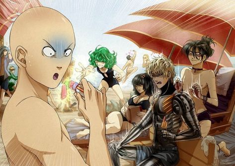 One Punch Man - King, Genos, Saitama and Bang
