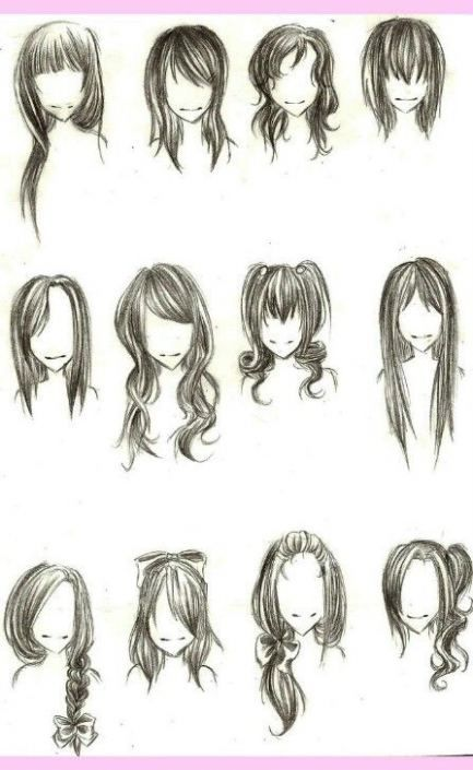 19 Ideas For Hair Tutorial Bangs Beauty How To Draw Hair Anime Hair Drawings