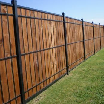 Oz Post Wood And Wrought Iron Yelp Iron Fence Wood Fence Design Backyard Fences