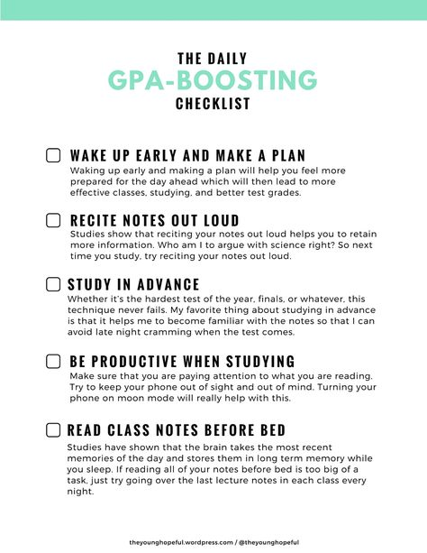 Gpa Boosting Checklist I Would Like To See The Overall Gpa Of The