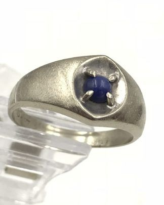10k White Gold Blue Star Sapphire Ring Mens Sz 12 5 Vintage 10k Gold Ring Vintage Jewelry Blue Star Sapphire Ring