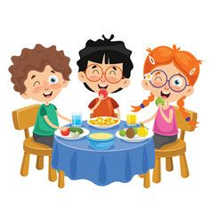 Kid Cooking Meal Vector