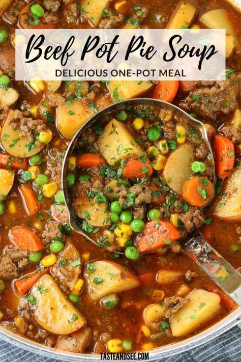 This rich and flavorful Beef Pot Pie Soup has a garden's worth of vegetables, and lean ground beef, with a savory stout beer and beef stock broth! Beef Soup Recipes, Healthy Recipes, Crockpot Recipes, Cooking Recipes, Beef Soup Crockpot, Beef Soups, Healthy Soup, Ground Beef Stews, Soup With Ground Beef