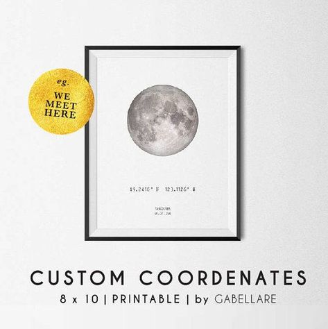 Full moon poster   Custom Coordinates   Coordinates Personalized print   Custom Latitude Longitude   GPS Coordinates   Coordinates