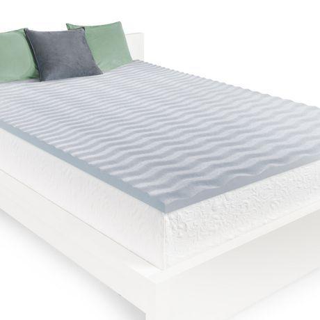 Homedics 2 Cool Wave Memory Foam Mattress Topper Gray Twin