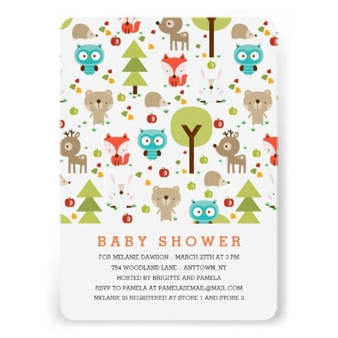 "Cute pattern illustrated with a little fox, a blue owl, a reindeer, a brown bear, a white bunny, a hedgehog, a pine tree, an apple tree, green and red apples and dried leaves. Woodland friends themed neutral baby shower design for any gender. Some elements by Graphics by <a hef=""http://www.mygrafico.com/pinkdesign/aff_233.html"">Pink Design</a> at MyGrafico. Check our store for more matching items."