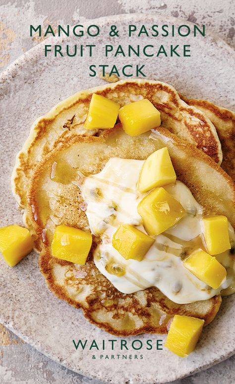 For an impressive pancake stack, layer up the banana pancakes, drizzle with maple syrup, a dollop of yogurt and fresh chunks of mango.   Tap for the full Waitrose  Partners recipe.