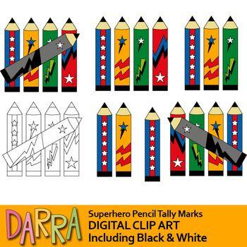 Tally Marks Clipart Superhero Pencils Tally Mark Clip Art Tpt Teacherspayteachers Superherotheme Png Clipart Darra Clip Art Superhero Theme Tally Marks