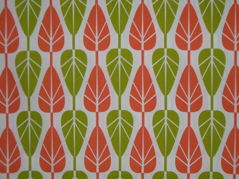 Orange and Green Mod Leaf Print Cotton Print Fabric--One