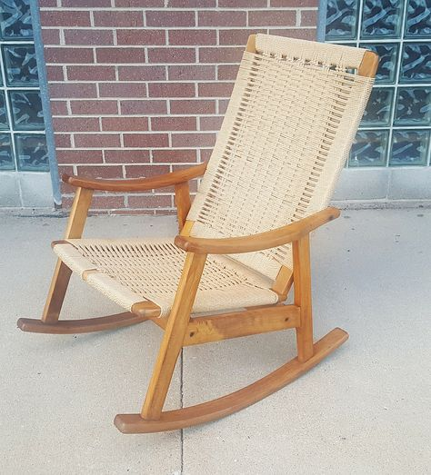 mid century modern hans wegner style rope rocking chair rh pinterest es