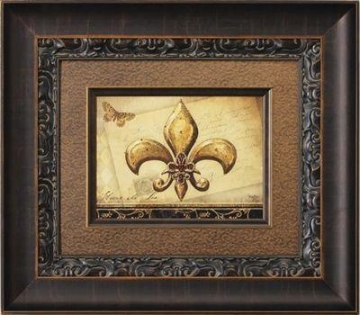 Visser Amber Crystal Jeweled Fleur De Lis Framed Picture 28 X 32 Shop Www Crownjewel Design Canvas Art Artwork Art