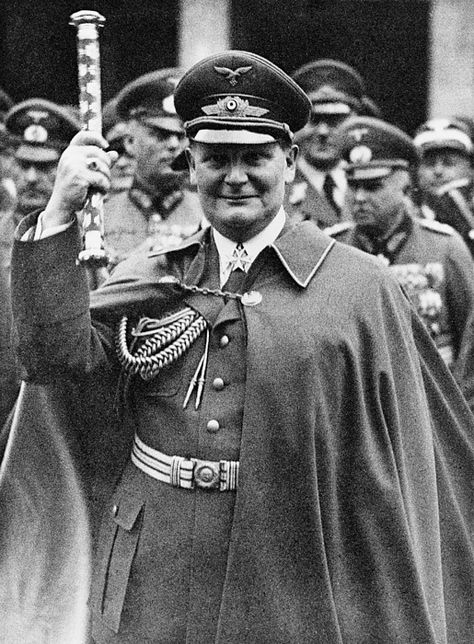 Hermann Goering (1893-1946), holding up his Fieldmarshall's baton at Air Force day parade. March 1, 1938.