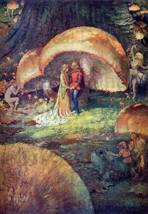 RARE Fairy WEDDING Under Mushroom. Vintage Book Plate Illustration. Fairy DIGITAL Download