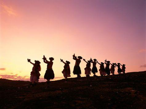pink hula dancer | Silhouetted Hula Dancers Photograph