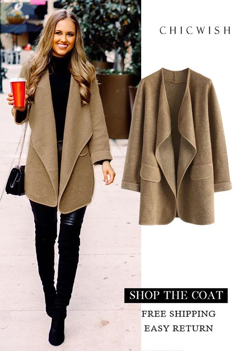 Casual Open Coat on Sale @looklovelyliving