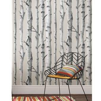 Union Rustic Ferrao Birch Tree 33 L X 20 4 W Wallpaper Roll Reviews Wayfair In 2020 Birches Wallpaper Grey Wallpaper Birch Tree Wallpaper