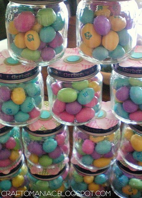 Recycled baby food jars as baby shower favors...love it!