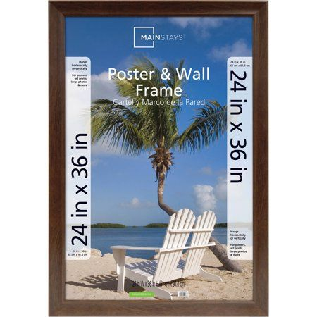 Mainstays 24x36 Wide Walnut Poster And Picture Frame Walmart Com Frames On Wall Poster Frame Hanging Posters
