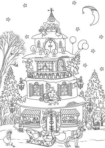 Hard Christmas Tree Coloring Page House Colouring Pages Christmas Coloring Books Tree Coloring Page