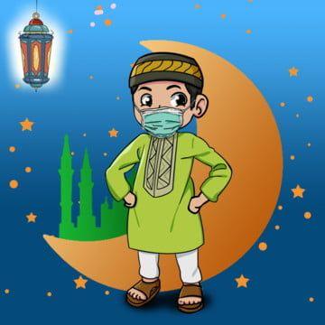 Eid Muslim Kid Wearing A Mask Eid Mubarak Wearing Png Transparent Clipart Image And Psd File For Free Download Muslim Kids Cute Drawings Muslim