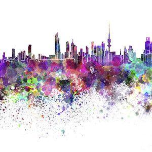 Kuwait City Skyline Poster In 2020 Kuwait National Day City
