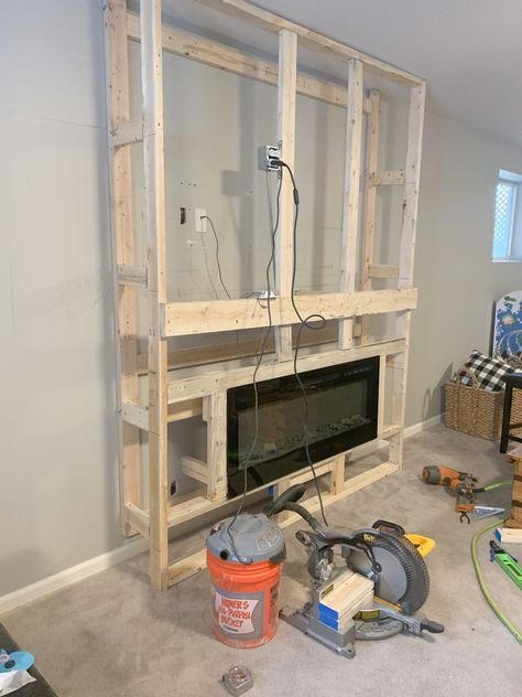 Room Remodeling, Basement Makeover, Build A Fireplace, Diy Basement, Living Room Remodel, Fireplace Remodel, Basement Decor, Basement Fireplace, Modern Fireplace