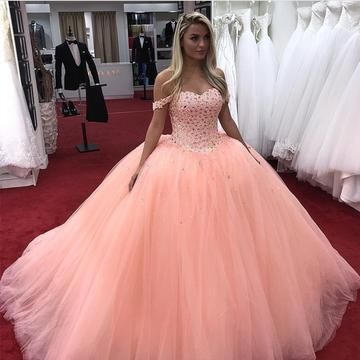 Off Shoulder Appliques Tulle Quinceanera Dresses Crystal