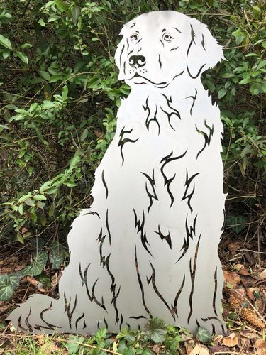 Rostfiguren Edelrost Gartenfigur Golden Retriever Sitzend Hund Terma Stahldesign De Gartenfiguren Golden Retriever Retriever Hund