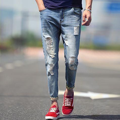 HOT SALE Men/'s Ripped Slim Fit Skinny Jeans Stretch Biker Denim Pants Distress