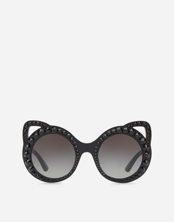 "6fefaa257 Dolce & Gabbana iconic round acetate sunglasses featuring ""cut-out"" cat  ears and shiny black crystals. Smoke gradient lenses. Size: Regular. Made  in Italy"
