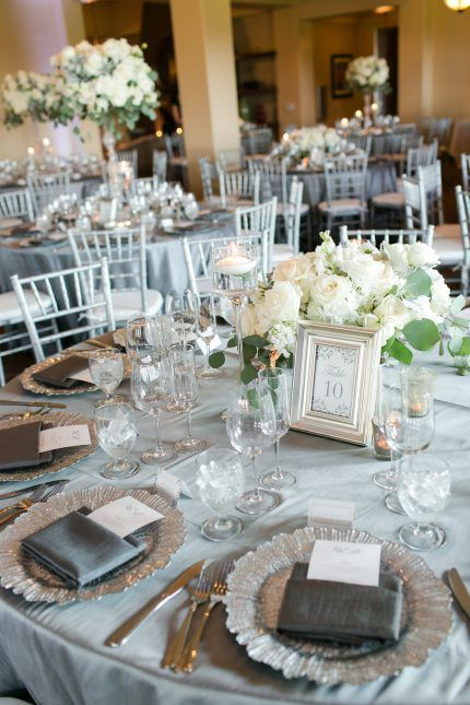 Silver And White Table Number And Reception Decor Timeless