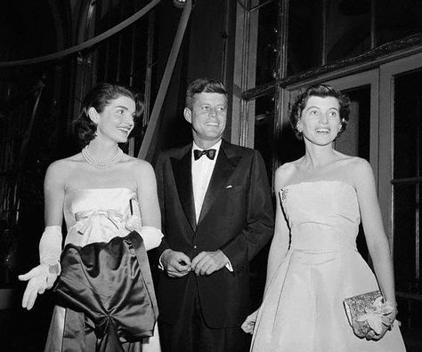 Jacqueline Kennedy, John F Kennedy and Eunice Kennedy Shriver at the April Paris Ball at the Waldorf, circa 1957.