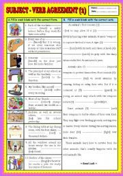 Subject verb agreement a comic lesson with activities subject english worksheet subject verb agreement part key platinumwayz