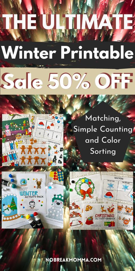 Is stress-less homeschooling possible? Yes! Get all the tools to make it happen with the Ultimate Preschool Winter Bundle. 50% off #toddler #counting #toddleractivity #matching #finemotorskills #preschool #printable #shapes #sizesorting #momhacks #3yrold #nursery #shapes #preschoolactivities #noscreenplay #counting #patterns #puzzels #activitybinder #toddlerskills #kindergartenskills #winteractivity #christmasactivity #christmasprintable #winterprintable #2yrold #sorting #homeschool #blackfriday