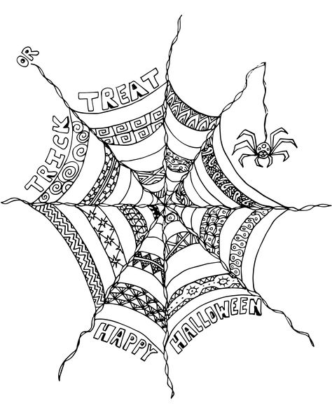 Free Halloween Adult Coloring Page Spider Web Halloween Kunst