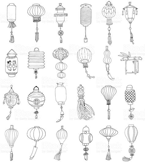 Learn To Draw Manga - Drawing On Demand Chinese Theme, Chinese Art, Lantern Drawing, Lantern Tattoo, Japon Illustration, Bullet Journal Art, Chinese Architecture, Manga Drawing, Japanese Art